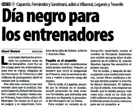 destitucion caparros - Caparrós fue destituido en Elche (99/00)