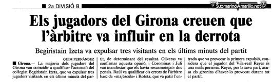 el punt girona91 92 - Villarreal, verdugo histórico del Girona FC