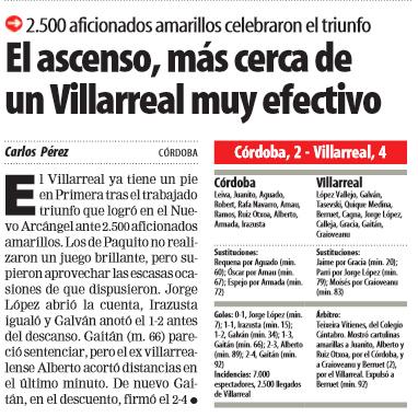 cronica cordoba - Córdoba-Villarreal, antesala de un ascenso (99/00)