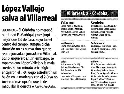 cronicavillarreal cordoba mundo deportivo - Navidad del Villarreal en 1999