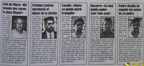 declaraciones periodico levante - 28-6-1992, ascenso Villarreal: repercusiones de un día grande (y II)
