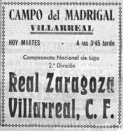 el primer villarreal zaragoza cartel - El primer Villarreal-Zaragoza
