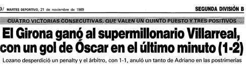 titular diari de girona - Así veían al Villarreal CF a finales de los 80